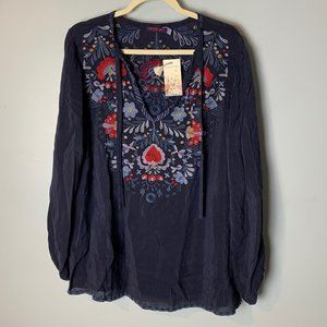 Johnny Was NEW Blouse Size XL Tie Neck Top Floral